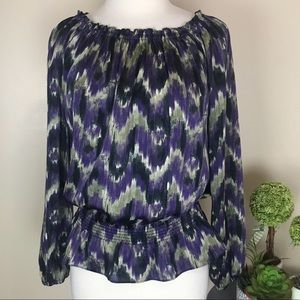 Michael Kors Peplum Scoop Neck Abstract Blouse Top